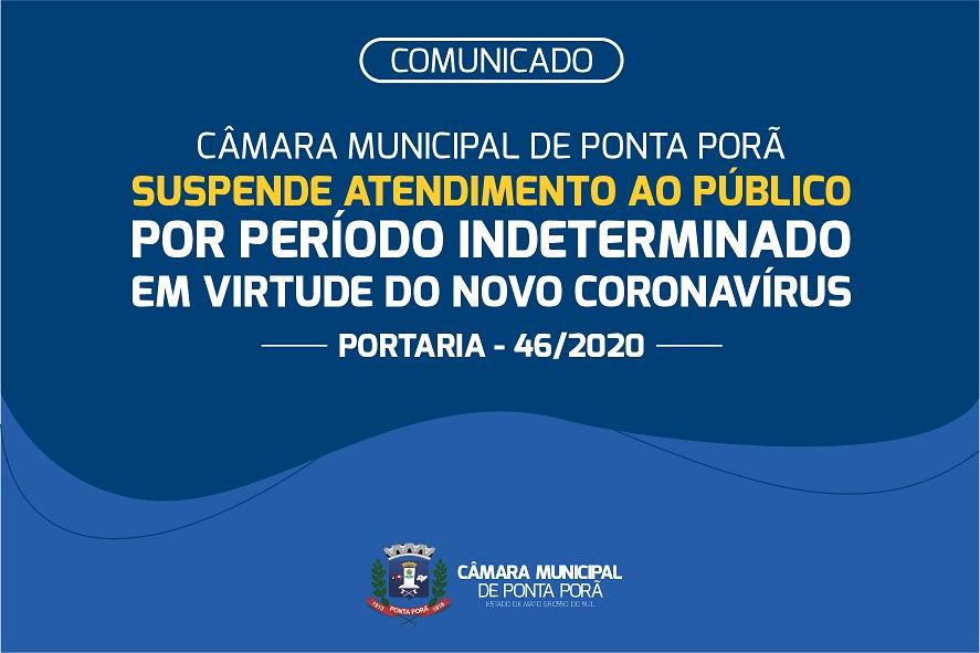 Câmara Municipal de Ponta Porã suspende atividades como forma de prevenção ao coronavírus