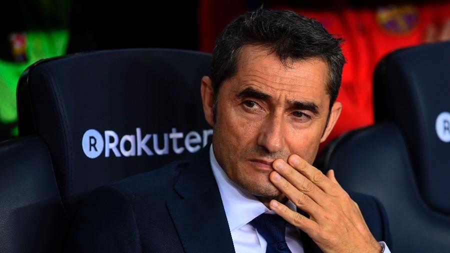 Ernesto Valverde durante partida entre Barcelona e Athletic Bilbao